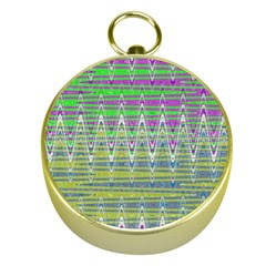 Colorful Zigzag Pattern Gold Compasses by BrightVibesDesign