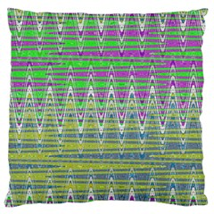 Colorful Zigzag Pattern Large Flano Cushion Case (two Sides) by BrightVibesDesign