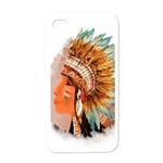 Native American Young Indian Shief Apple iPhone 4 Case (White)