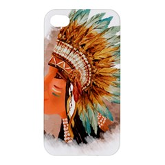 Native American Young Indian Shief Apple Iphone 4/4s Premium Hardshell Case by TastefulDesigns