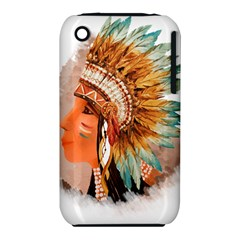 Native American Young Indian Shief Apple Iphone 3g/3gs Hardshell Case (pc+silicone) by TastefulDesigns