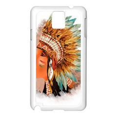 Native American Young Indian Shief Samsung Galaxy Note 3 N9005 Case (white) by TastefulDesigns
