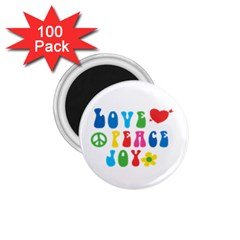 Love Peace And Joy Signs 1 75  Button Magnet (100 Pack) by TastefulDesigns
