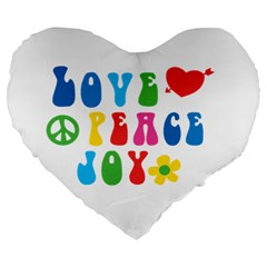 Love Peace And Joy Large 19  Premium Flano Heart Shape Cushion by TastefulDesigns