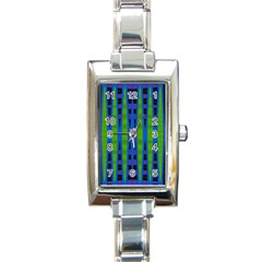 Blue Green Geometric Rectangle Italian Charm Watch by BrightVibesDesign