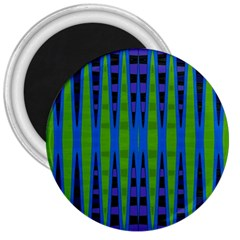 Blue Green Geometric 3  Magnets by BrightVibesDesign