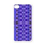 Blue Black Geometric Pattern Apple iPhone 4 Case (White)