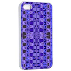 Blue Black Geometric Pattern Apple Iphone 4/4s Seamless Case (white) by BrightVibesDesign