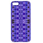 Blue Black Geometric Pattern Apple iPhone 5 Hardshell Case with Stand