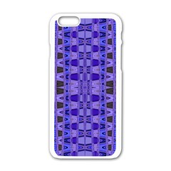 Blue Black Geometric Pattern Apple iPhone 6/6S White Enamel Case by BrightVibesDesign