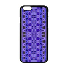 Blue Black Geometric Pattern Apple Iphone 6/6s Black Enamel Case by BrightVibesDesign