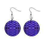 Blue Black Geometric Pattern Mini Button Earrings