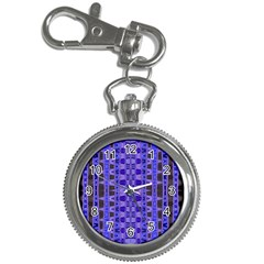 Blue Black Geometric Pattern Key Chain Watches by BrightVibesDesign