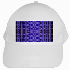 Blue Black Geometric Pattern White Cap by BrightVibesDesign