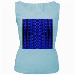 Blue Black Geometric Pattern Women s Baby Blue Tank Top by BrightVibesDesign