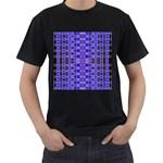 Blue Black Geometric Pattern Men s T-Shirt (Black)