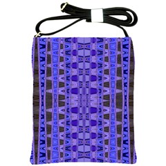 Blue Black Geometric Pattern Shoulder Sling Bags by BrightVibesDesign