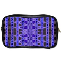 Blue Black Geometric Pattern Toiletries Bags by BrightVibesDesign