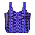 Blue Black Geometric Pattern Full Print Recycle Bags (L)