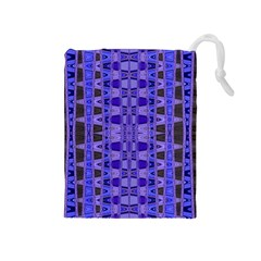 Blue Black Geometric Pattern Drawstring Pouches (medium)  by BrightVibesDesign