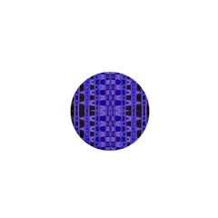Blue Black Geometric Pattern 1  Mini Magnets by BrightVibesDesign