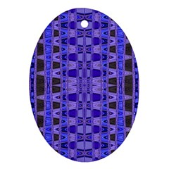 Blue Black Geometric Pattern Ornament (oval)  by BrightVibesDesign