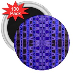 Blue Black Geometric Pattern 3  Magnets (100 Pack) by BrightVibesDesign