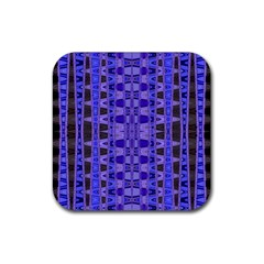 Blue Black Geometric Pattern Rubber Coaster (square)  by BrightVibesDesign