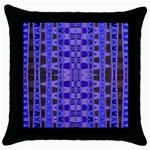Blue Black Geometric Pattern Throw Pillow Case (Black)