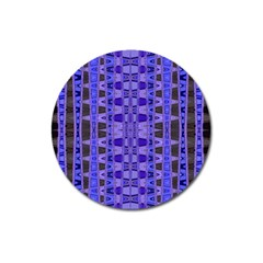 Blue Black Geometric Pattern Magnet 3  (round) by BrightVibesDesign