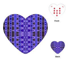 Blue Black Geometric Pattern Playing Cards (heart)  by BrightVibesDesign
