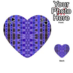 Blue Black Geometric Pattern Playing Cards 54 (heart)  by BrightVibesDesign