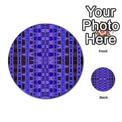 Blue Black Geometric Pattern Multi Purpose Cards (round)  by BrightVibesDesign