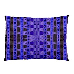 Blue Black Geometric Pattern Pillow Case by BrightVibesDesign