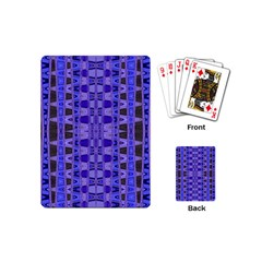 Blue Black Geometric Pattern Playing Cards (mini)  by BrightVibesDesign