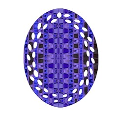 Blue Black Geometric Pattern Ornament (oval Filigree)  by BrightVibesDesign