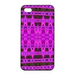 Bright Pink Black Geometric Pattern Apple Iphone 4/4s Seamless Case (black) by BrightVibesDesign