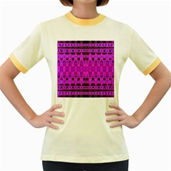 Bright Pink Black Geometric Pattern Women s Fitted Ringer T Shirts by BrightVibesDesign