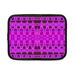 Bright Pink Black Geometric Pattern Netbook Case (small)  by BrightVibesDesign