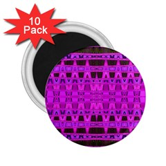 Bright Pink Black Geometric Pattern 2 25  Magnets (10 Pack)  by BrightVibesDesign