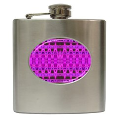 Bright Pink Black Geometric Pattern Hip Flask (6 Oz) by BrightVibesDesign