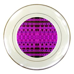 Bright Pink Black Geometric Pattern Porcelain Plates by BrightVibesDesign
