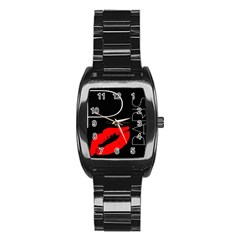 Greetings From Paris Red Lipstick Kiss Black Postcard Stainless Steel Barrel Watch by yoursparklingshop
