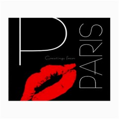Greetings From Paris Red Lipstick Kiss Black Postcard Small Glasses Cloth by yoursparklingshop