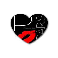 Greetings From Paris Red Lipstick Kiss Black Postcard Rubber Coaster (heart)  by yoursparklingshop