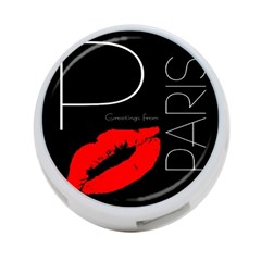 Greetings From Paris Red Lipstick Kiss Black Postcard 4 Port Usb Hub (one Side) by yoursparklingshop