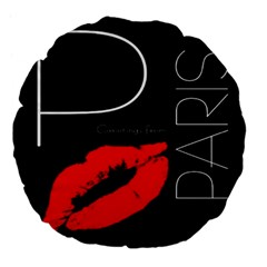 Greetings From Paris Red Lipstick Kiss Black Postcard Large 18  Premium Flano Round Cushions by yoursparklingshop