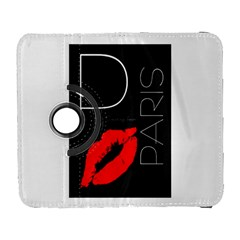 Greetings From Paris Red Lipstick Kiss Black Postcard Samsung Galaxy S  Iii Flip 360 Case by yoursparklingshop