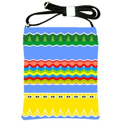 Colorful Chevrons And Waves                 shoulder Sling Bag by LalyLauraFLM