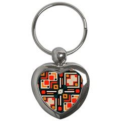 Shapes In Retro Colors Texture                   			key Chain (heart) by LalyLauraFLM